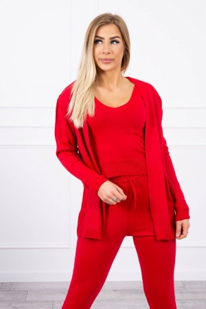 Compleu 3 piese pantaloni, pulover si top rosu