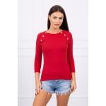 Bluza de dama maroon cu butoni decorativi
