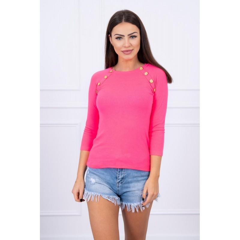 Bluza de dama roz-neon cu butoni decorativi