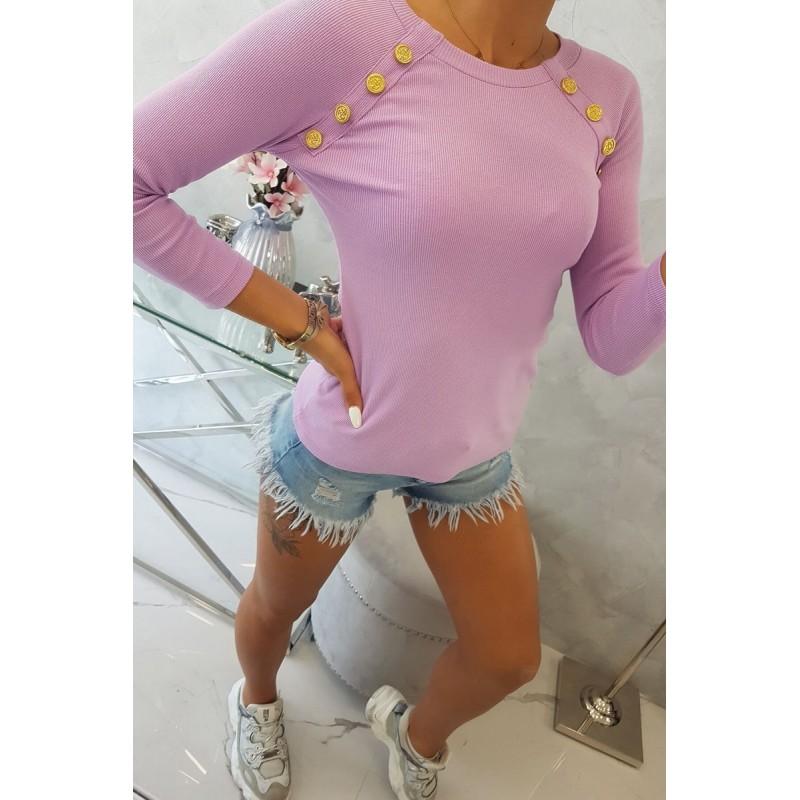 Bluza violet cu butoni decorativi