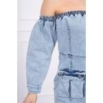 Rochie jeans cu umerii goi