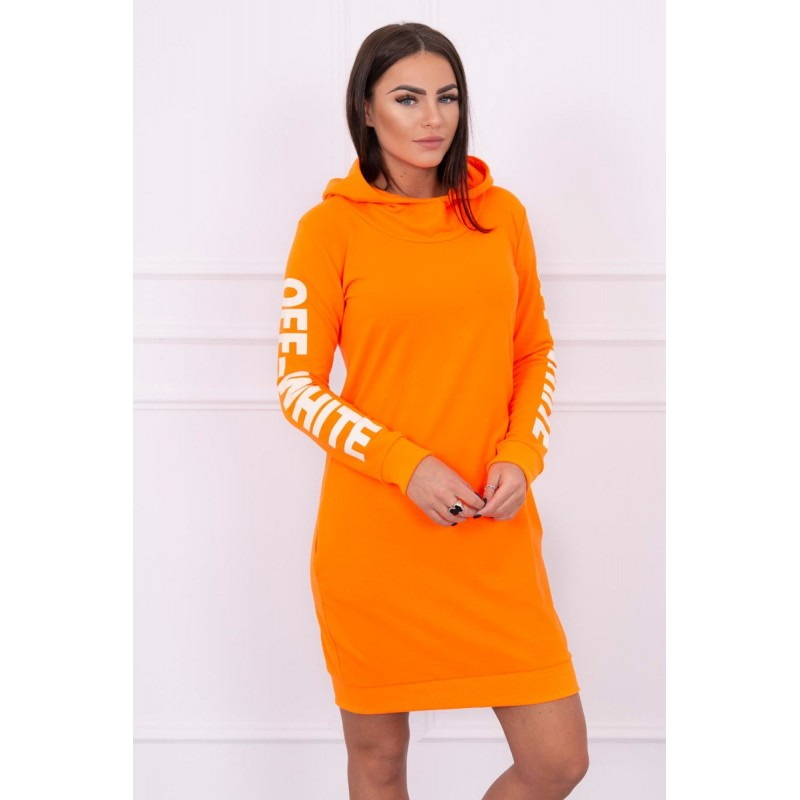 Rochie portocalie casual cu buzunare laterale