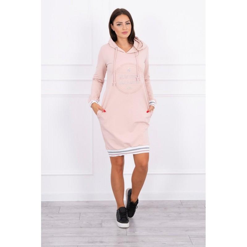 Rochie sport-casual cu buzunare laterale roz