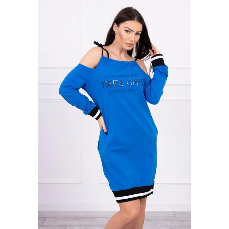 Rochie Sport Tres Chic albastra cu umerii goi