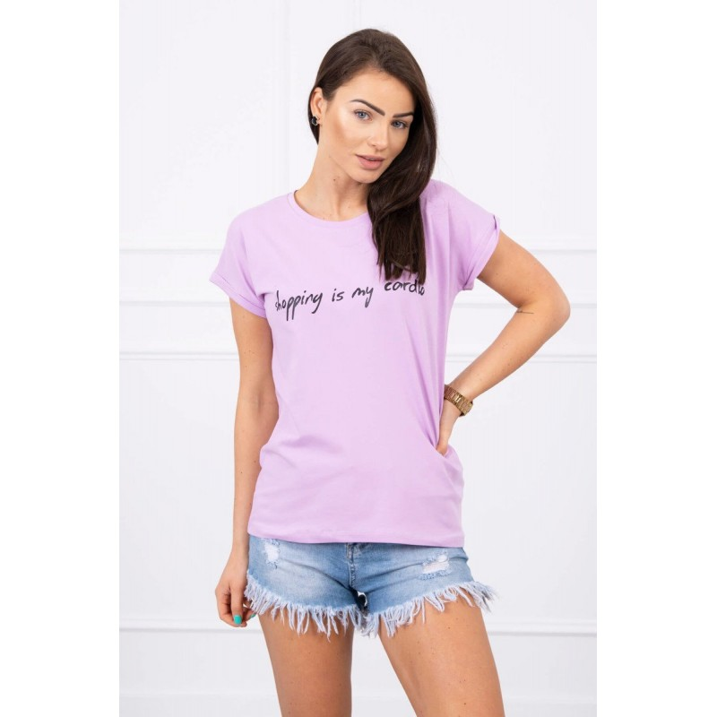 Tricou dama bumbac violet cu maneci scurte