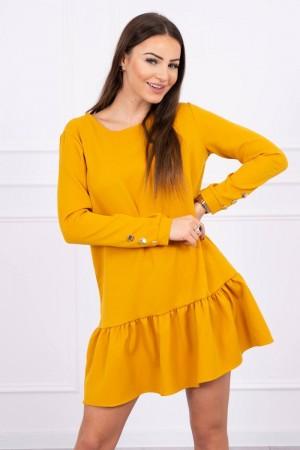 Rochie cu maneci lungi si butoni decorativi mustar
