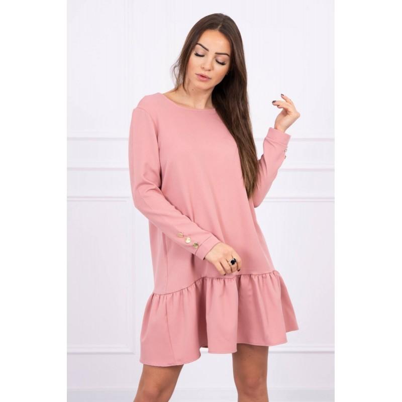 Rochie cu maneci lungi si butoni decorativi roz