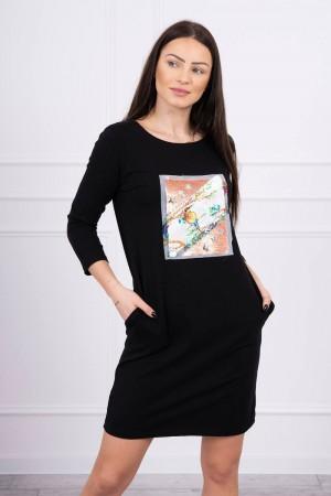 Rochie neagra mini cu imprimeu 3D-pasare