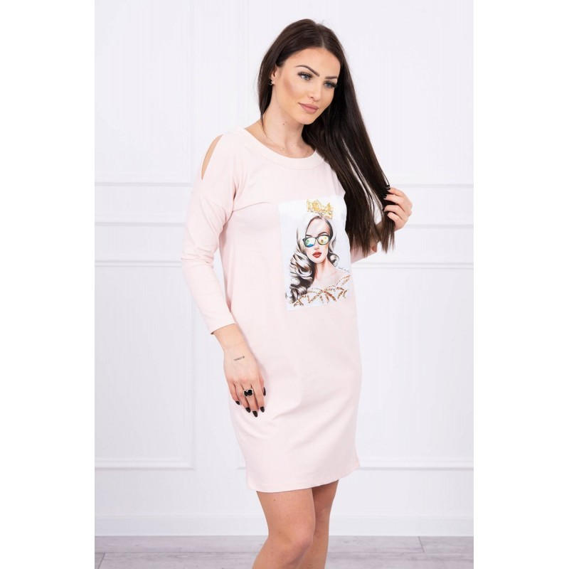 Rochie roz casual-sport dreapta cu lungime mini