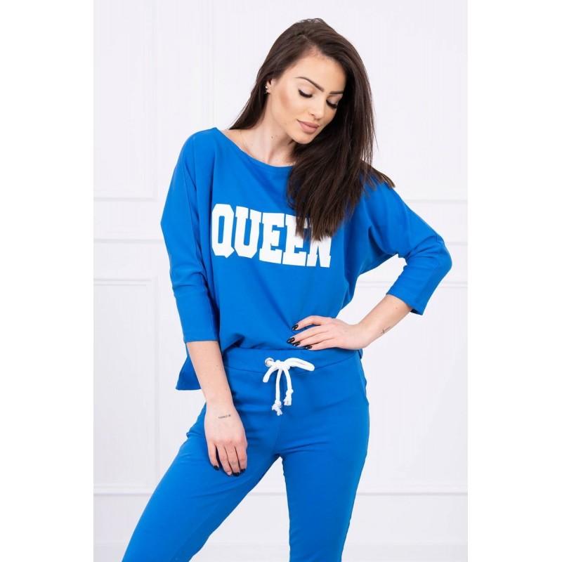 Trening dama bumbac cu bluza si pantaloni Albastru