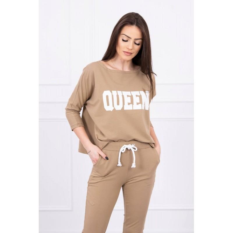 Trening dama bumbac cu bluza si pantaloni Camel