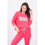 Trening dama bumbac cu bluza si pantaloni Roz-Neon