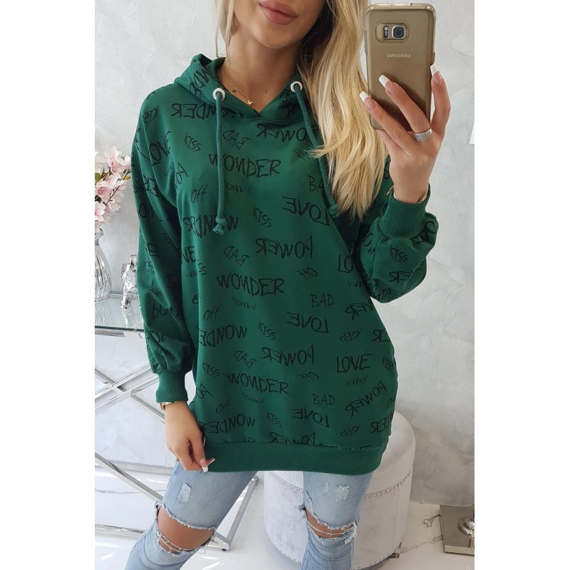 Hanorac dama cu imprimeu scris verde