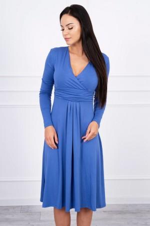 Rochie din vascoza cu decolteu in V albastra