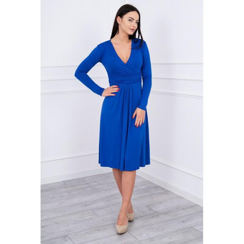 Rochie din vascoza cu decolteu in V albastru royal