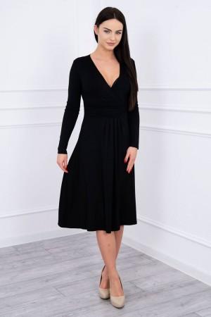 Rochie din vascoza cu decolteu in V neagra
