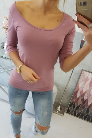 Bluza dama roz casual cu decolteu rotund