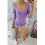 Bluza dama casual violet cu decolteu rotund