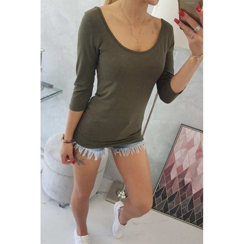 Bluza kaki dama casual cu decolteu rotund