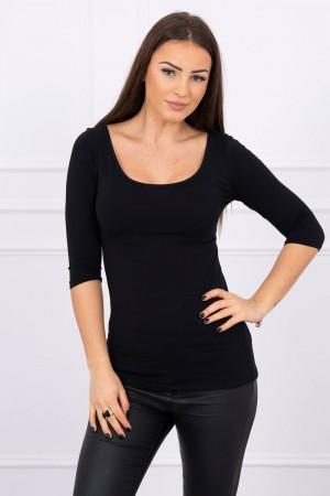 Bluza neagra dama casual cu decolteu rotund