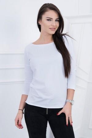 Bluza casual alba cu maneci trei sferturi