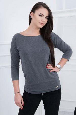 Bluza gri-inchis casual cu maneci trei sferturi