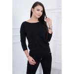 Bluza neagra casual cu maneci trei sferturi