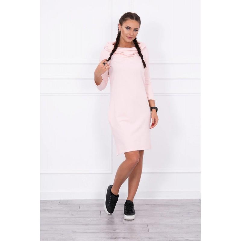 Rochie casual-sport roz cu gluga si buzunare