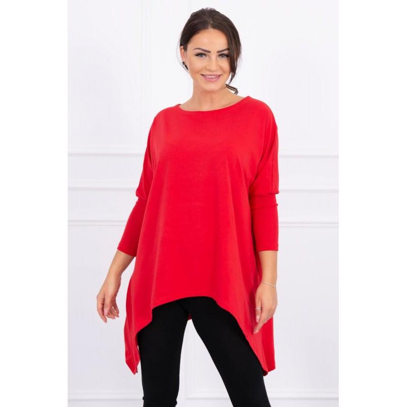 Bluza asimetrica si supradimensionata rosie