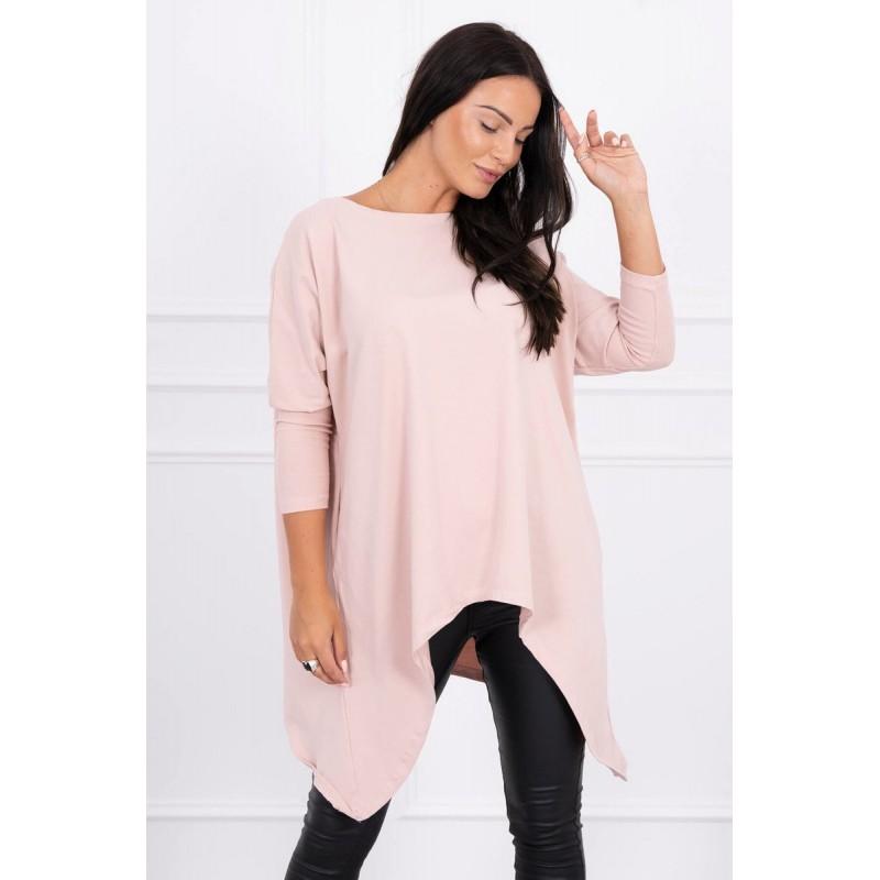 Bluza asimetrica si supradimensionata roz-inchis