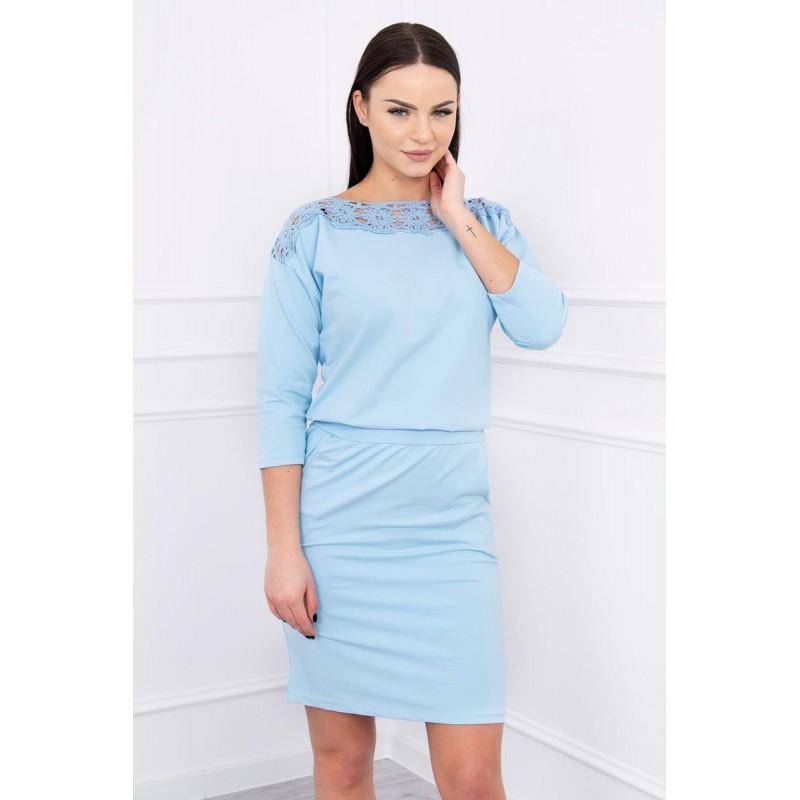 Rochie bleu si banda elastica in talie