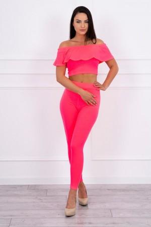 Set top dama casual cu pantaloni roz-neon
