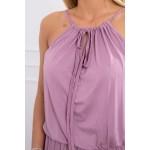 Rochie lunga de vara cu banda elastica in talie roz-inchis