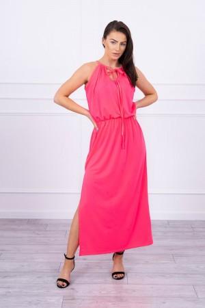 Rochie lunga de vara cu banda elastica in talie roz-neon