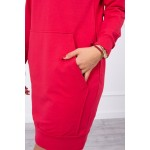 Rochie din bumbac casual-sport cu gluga rosie
