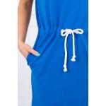 Rochie din bumbac casual-sport cu gluga albastra