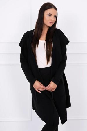 Cardigan negru dama asimetric cu gluga