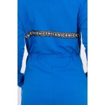 Hanorac de dama lung asimetric albastru