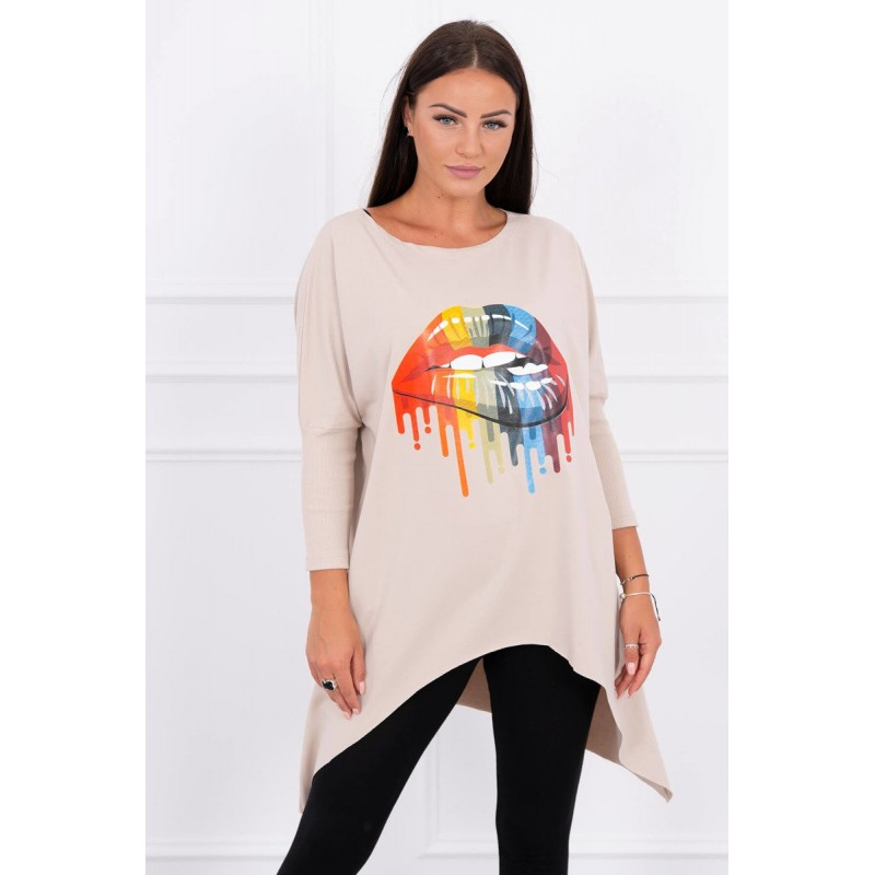 Bluza dama oversize bej asimetrica cu imprimeu
