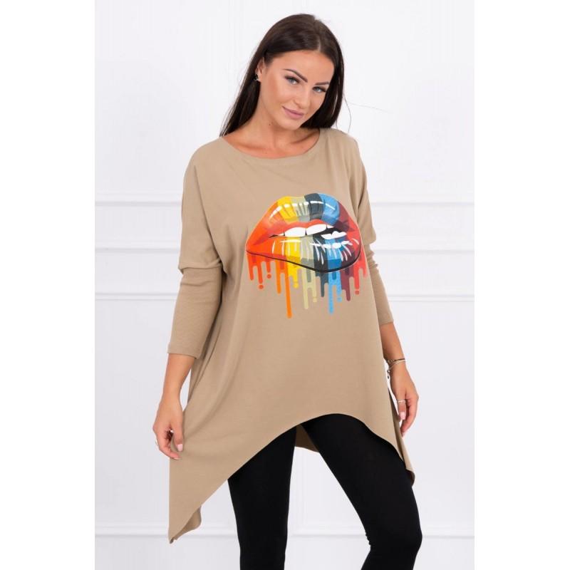 Bluza dama oversize camel asimetrica cu imprimeu