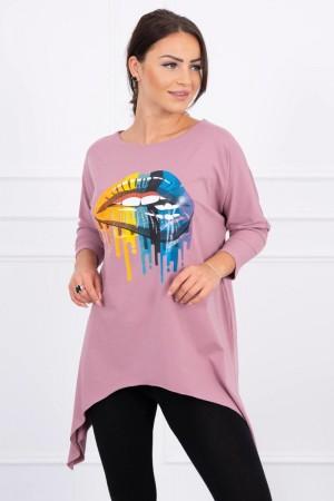 Bluza dama oversize roz asimetrica cu imprimeu