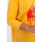 Bluza dama oversize mustar asimetrica cu imprimeu
