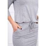 Rochie cu elastic in talie gri