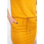 Rochie cu elastic in talie mustar