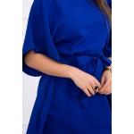 Rochie mini albastra cu cordon in talie