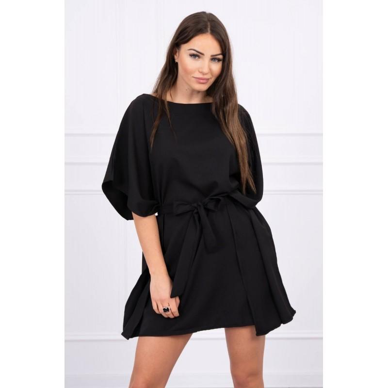 Rochie mini neagra cu cordon in talie