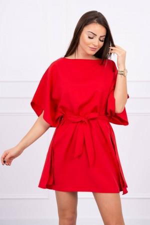 Rochie mini rosie cu cordon in talie