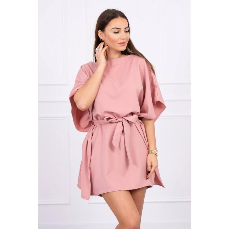 Rochie mini roz cu cordon in talie