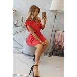 Rochie de vara mini rosie cu volane
