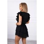 Rochie de vara neagra mini cu volane